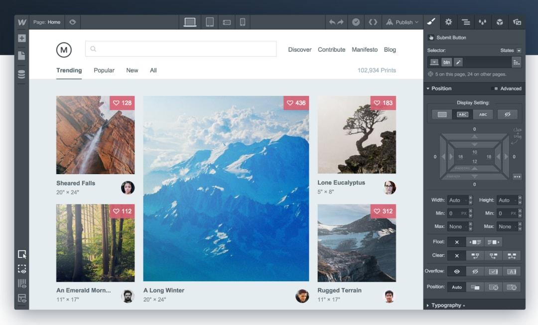 Prototyping Tools - Webflow
