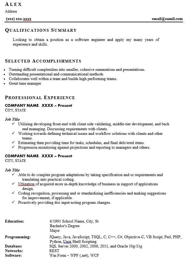 Software Engineering Resume Template - Bad Resume