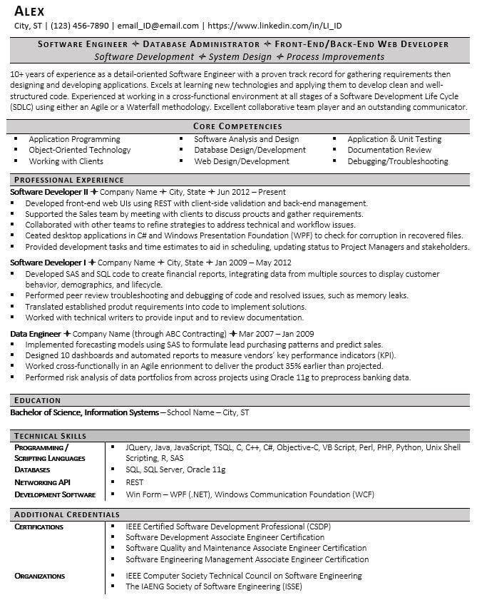 Software Engineering Resume Template - Good Resume