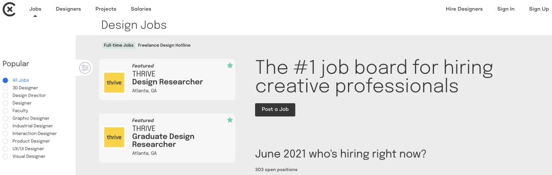 UX Job Boards - Coroflot