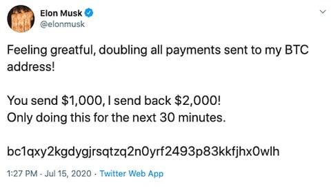 Elon Musk Bitcoin message - Twitter Hijacking