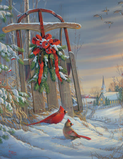 Winter Red Birds 1000 Piece Jigsaw Puzzle
