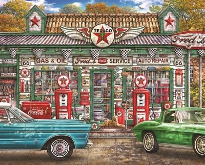 Fred's Service Station 1000 Piece Jigsaw Puzzle