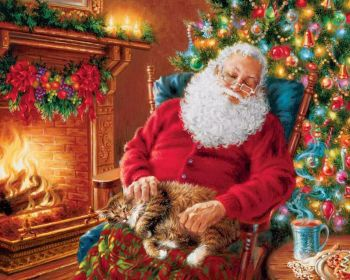 NEW! Santa's Cat Nap 120 Piece Jigsaw Puzzle