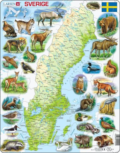 Sweden Map with Animals Children's Educational 71 Piece Jigsaw Puzzle