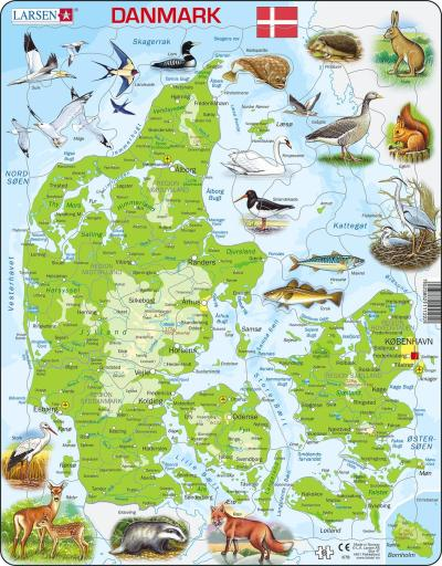 Denmark Map with Animals Children's Educational 66 Piece Jigsaw Puzzle
