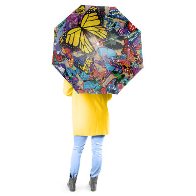 Butterfly Frenzy Full Size Umbrella w/ Auto Extend