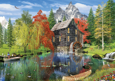 Fishing by the Mill 1500 Piece Jigsaw Puzzle