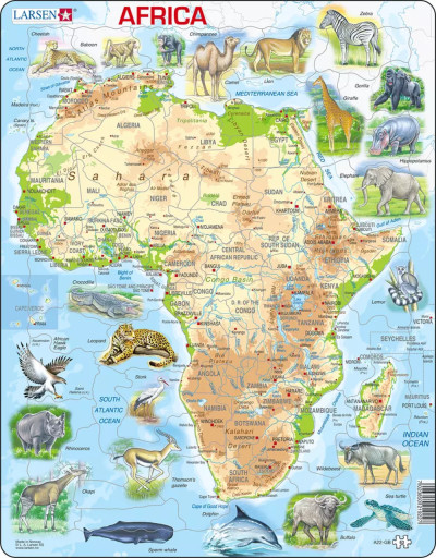 Africa Map with Animals Children's Educational 63 Piece Jigsaw Puzzle