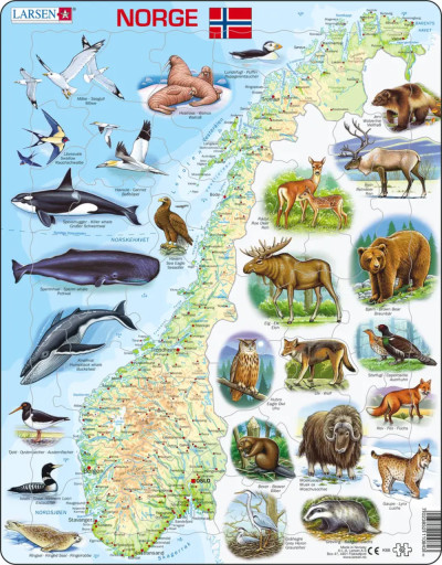 Norway Map with Animals Educational 62 Piece Jigsaw Puzzle