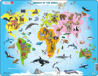 Animals of the World Map Educational 28 Piece Jigsaw Puzzle