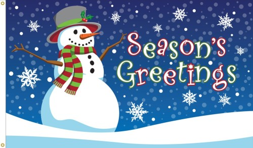 Season's Greetings Flag - 3' x 5' - Nylon