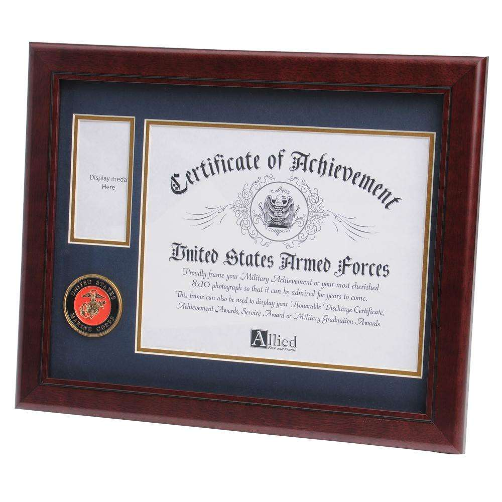 Us Marine Corps Medallion 8 Inch By 10 Inch Certificate And Medal