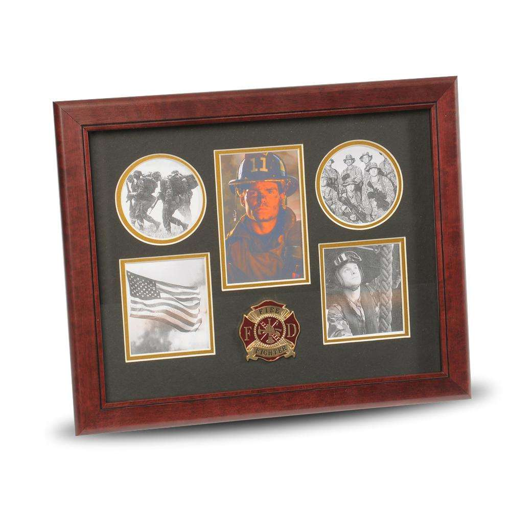 Firefighter picture frames firefighter certificate holders firefighter medallion 5 picture collage frame jeuxipadfo Images