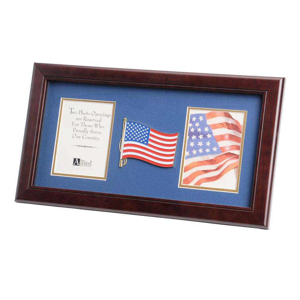 american flag medallion 4 inch by 6 inch double picture frame. Black Bedroom Furniture Sets. Home Design Ideas
