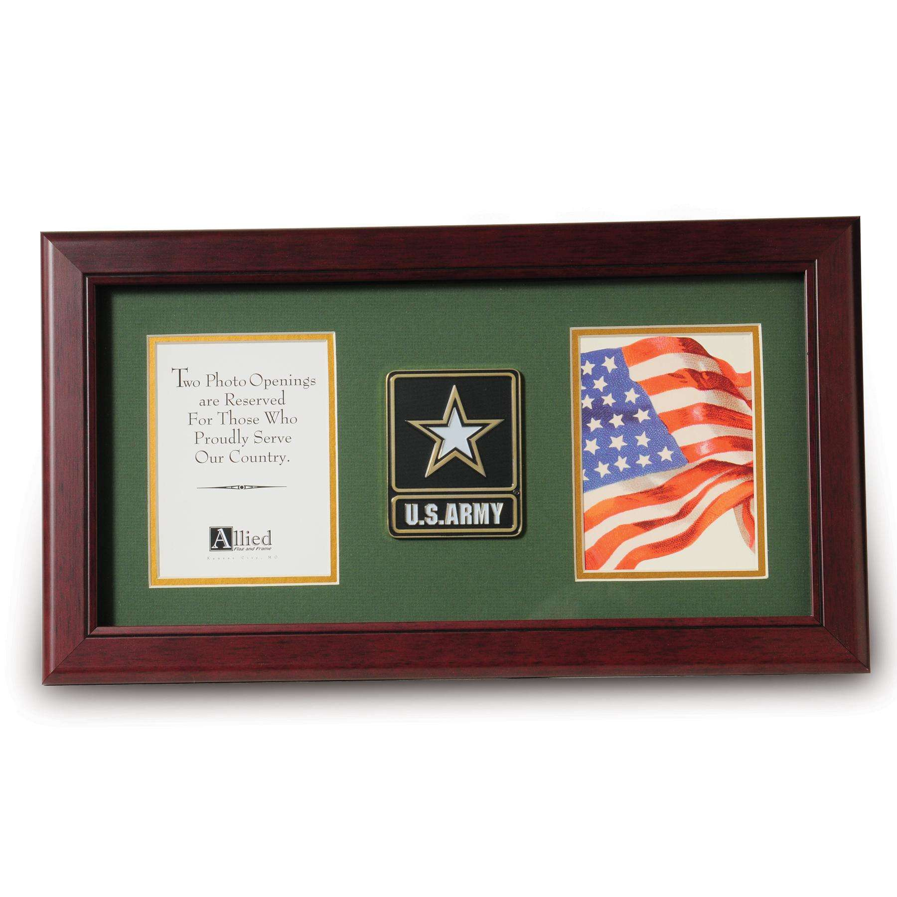 Go Army Medallion 4 Inch By 6 Inch Double Picture Frame