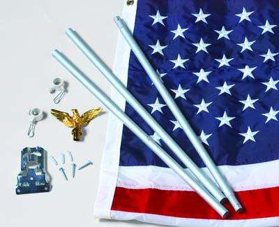U.S.Flag Set - 3 x 5  Embroidered Nylon Flag and 6 Aluminum Flag Pole