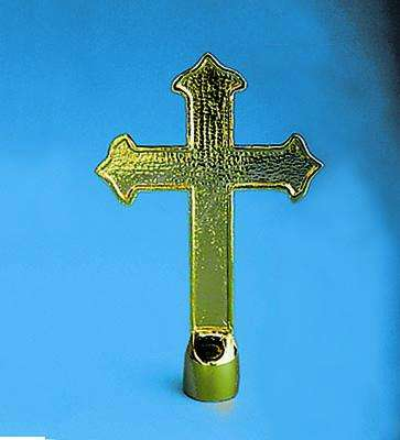Golden Plated Fancy Cross Indoor Flag Pole Ornament