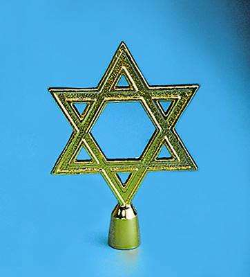 Golden Plated Star Of David Indoor Flag Pole Ornament