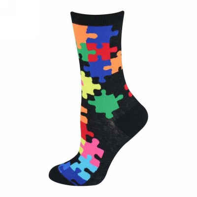 Colorful Jigsaw Puzzle Pattern Socks - Women