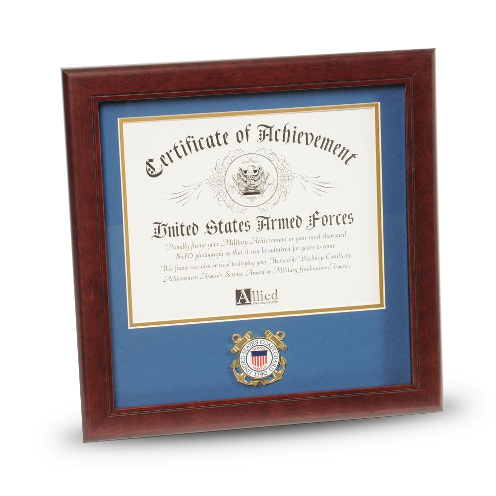 U S  Coast Guard Medallion 8-Inch by 10-Inch Certificate Frame
