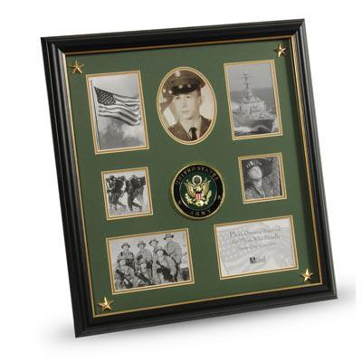 U.S. Army Medallion 7 Picture Collage Frame with Stars