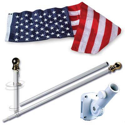 U.S. Flag Set - 3 x 5  Embroidered Nylon Flag and 7 Spinning Flag Pole