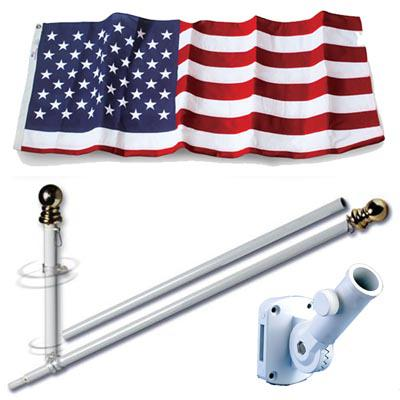 U.S. Flag Set - 3 x 5  Embroidered Polyester Flag and 5 Spinning Flag Pole