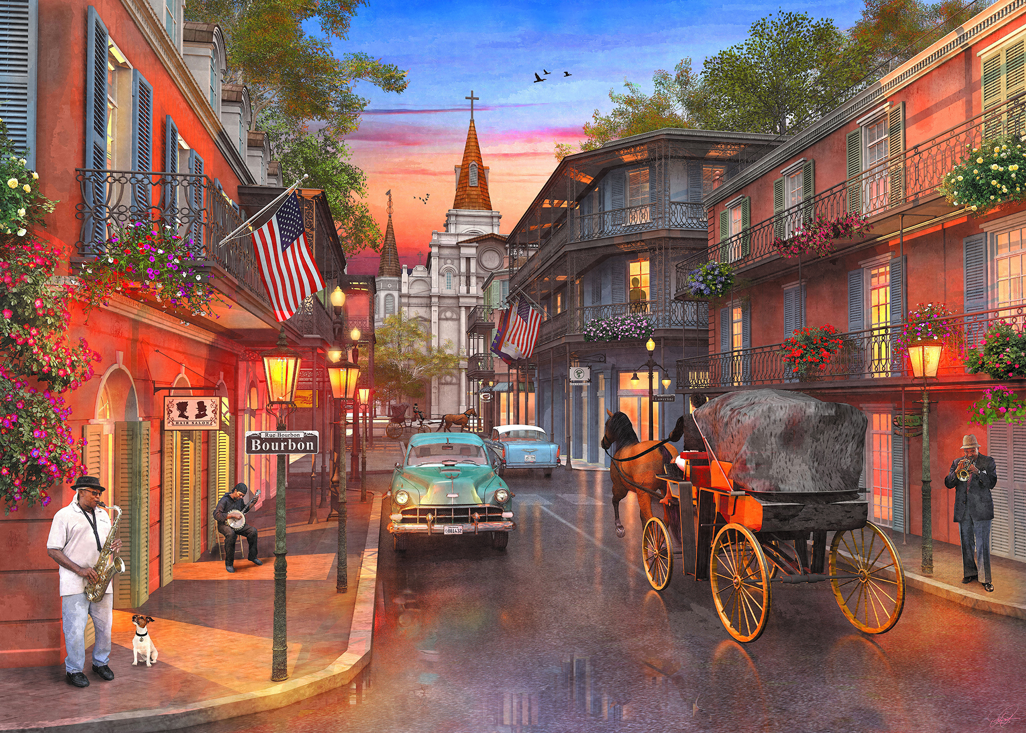 Bourbon Street 1000 Piece Jigsaw Puzzle on floor puzzles, australian puzzles, map puzzles easy, map of continents, map desktop wallpaper, melissa and doug knob puzzles, large disney puzzles, map puzzles online, european puzzles, north american wildlife puzzles, map of countries the uk, printable world geography puzzles, map of germany and austria, wildlife gallery puzzles,