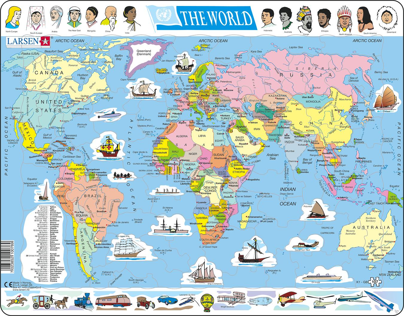 World Political 107 Piece Children's Educational Jigsaw Puzzle