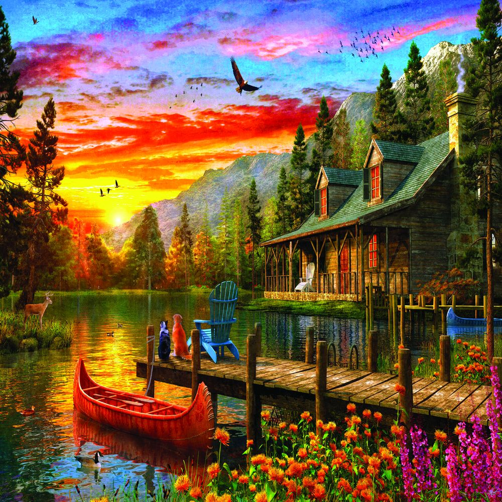 Cabin Evening Sunset 1000 Piece Jigsaw Puzzle