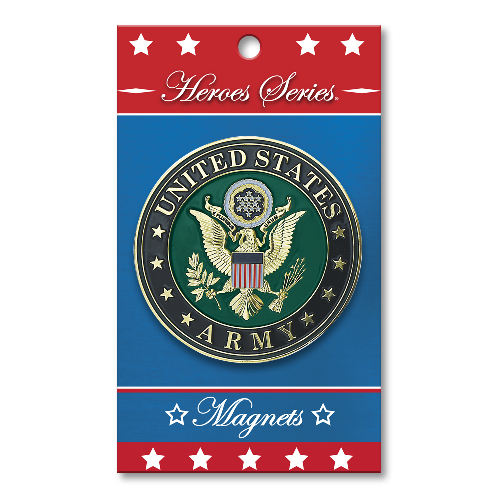 Heroes Series Army Medallion Small Magnet - 2.5 Diameter""