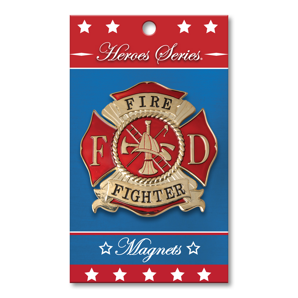 Heroes Series Firefighter Medallion Large Magnet - 3.75 Inches