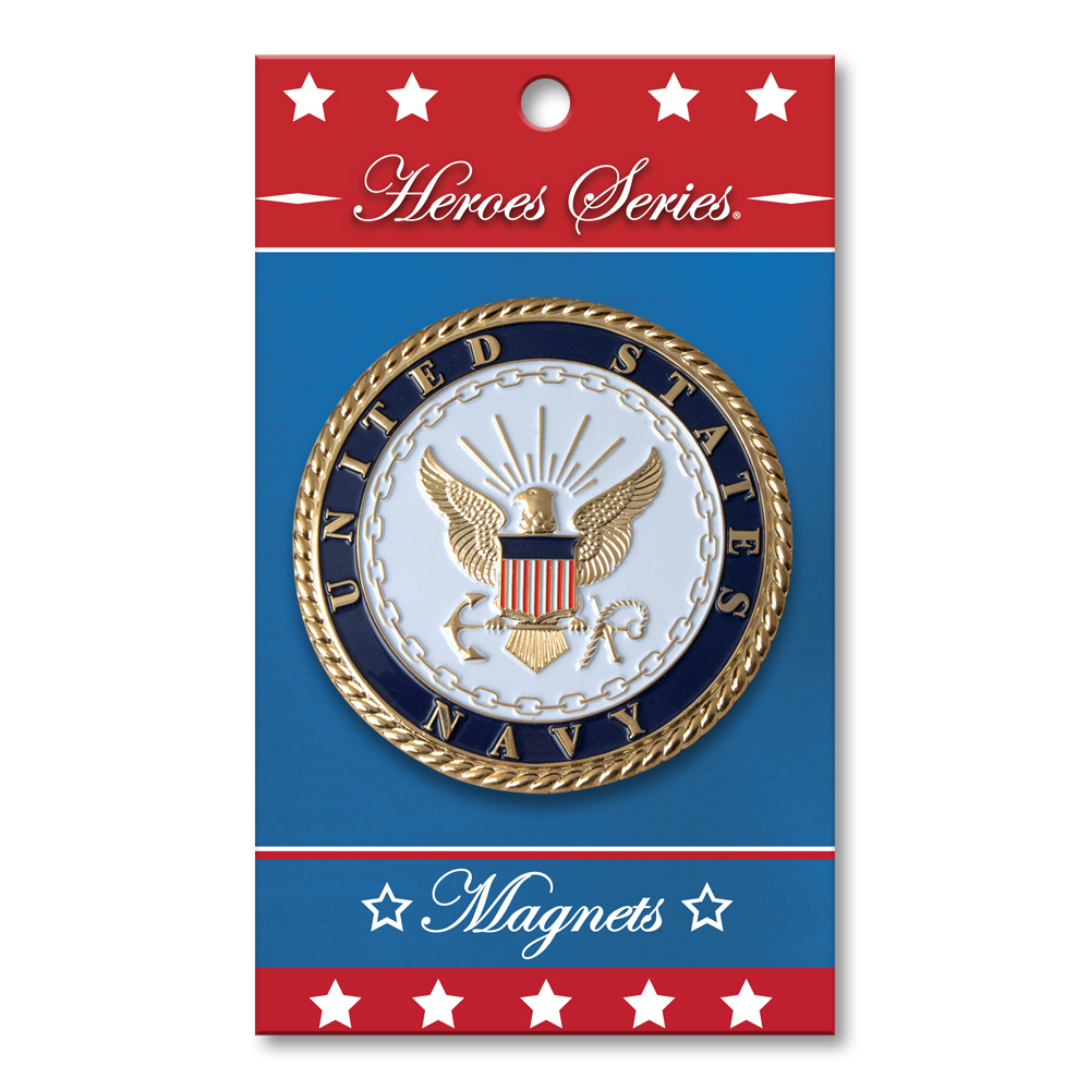 Heroes Series Navy Medallion Large Magnet - 3.75 Inches