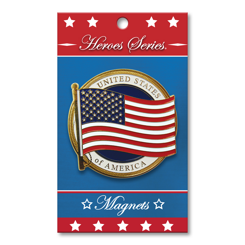 Heroes Series US Flag Medallion Small Magnet - 2.5 Diameter""