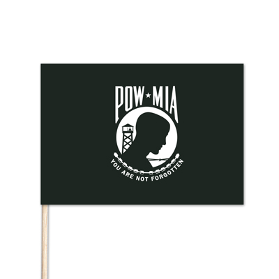 "U.S. POW/MIA Stick Flag - 4"" x 6"" - No Fray Cotton"