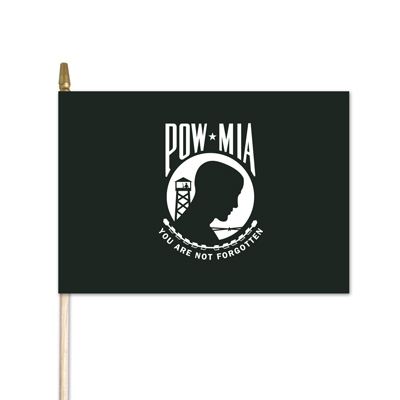 "U.S. POW/MIA Stick Flag w/ Gold Spear - 4"" x 6"" - Cotton"
