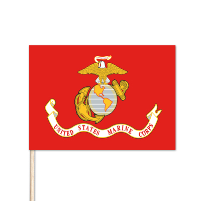 "U.S. Marine Stick Flag - 4"" x 6"" - Endura-Gloss - 144 Minimum Order"