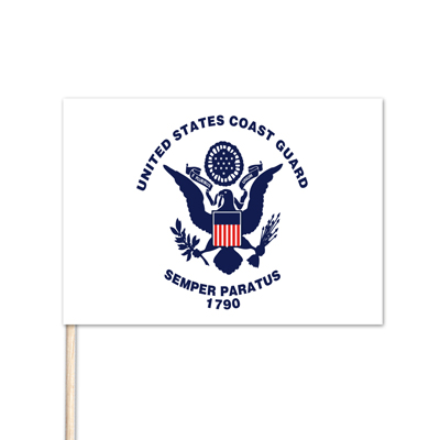 "U.S. Coast Guard Stick Flag - 4"" x 6"" - E-Polyester - 144 Minimum Order"