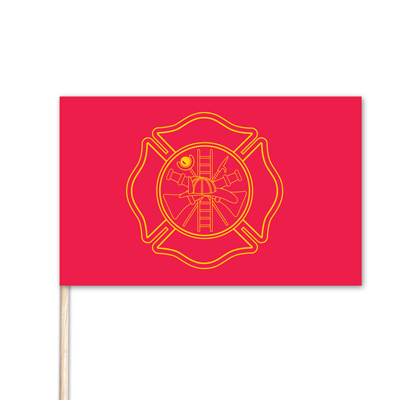 "Firefighter Stick Flag - 12"" x 18"" - E-Polyester"