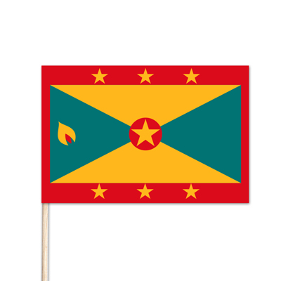 "Grenada World Stick Flag - 4"" x 6"" - Cotton"