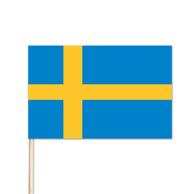 "Sweden World Stick Flag - 8"" x 12"" - Endura-Gloss Cotton"