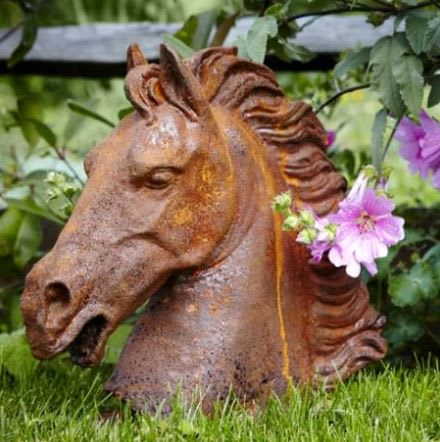 Cantering Horse Cast Iron Bust