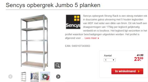 Sencys Metalen Opbergrek.Sencys Opbergrek Jumbo 5 Planken Voor 23 99