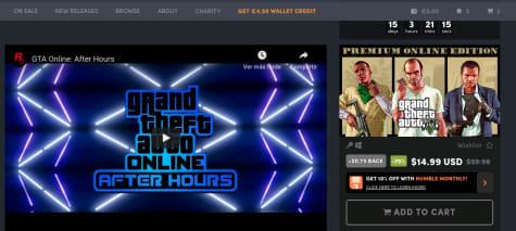 Grand Theft Auto V: Edición Premium por 14,99$ en Humble