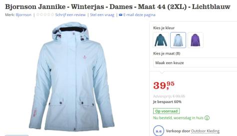 Lichtblauwe Winterjas Dames.Bjornson Jannike Winterjas Dames Lichtblauw Voor 39 95