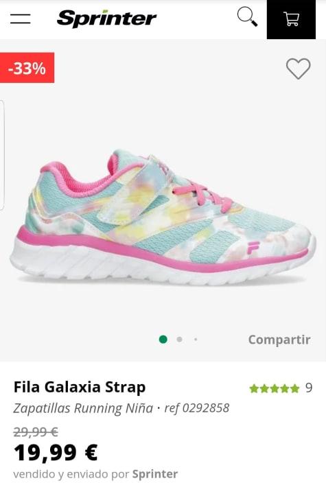 FILA Galaxia Strap para niñas por 19,99€.