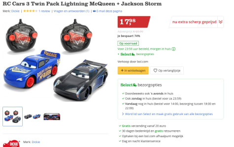 Rc Cars 3 Twin Pack Lightning Mcqueen Jackson Storm Voor 17 98