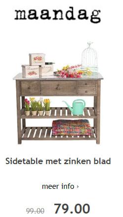Sidetable Van Xenos.Sidetable Met Zinken Blad Voor 79