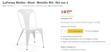 Bol Com Stoelen.4 Laforma Wit Metalen Stoelen Voor 167 99
